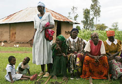 Kenyan women gather with children